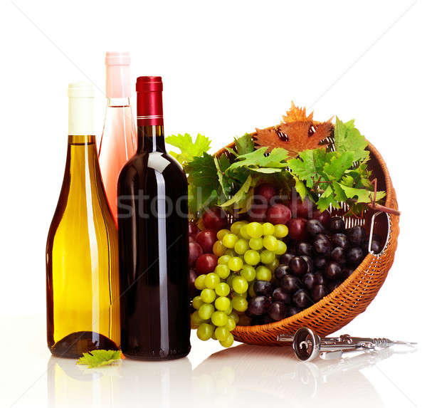 Uva vinho quadro diferente videira garrafas Foto stock © Anna_Om