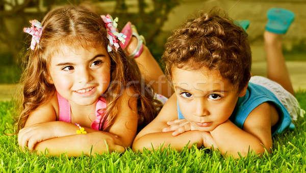 Stock photo: Two happy kids