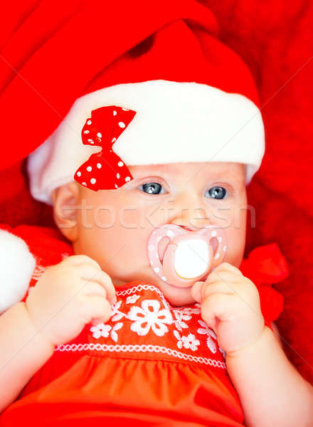 Newborn girl wearing Santa hat Stock photo © Anna_Om