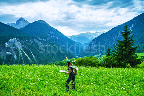 Happy traveler in the mountains Stock photo © Anna_Om