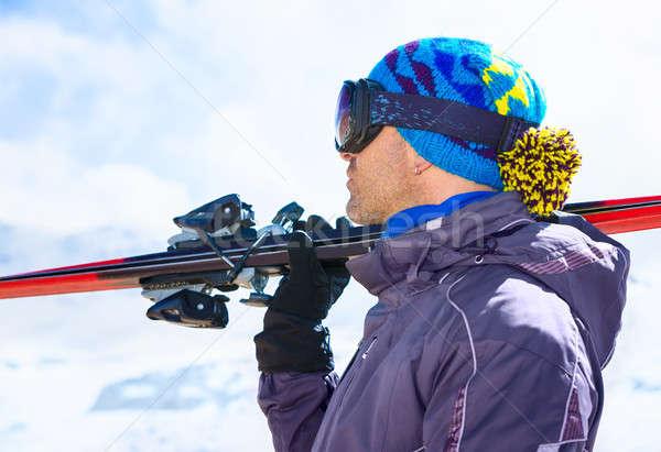 Yakışıklı kayakçı adam yandan görünüş maske Stok fotoğraf © Anna_Om