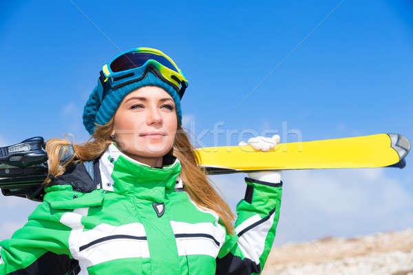 Mooie skiër prachtig vrouw Stockfoto © Anna_Om