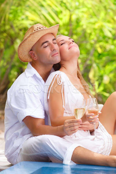 Gentle couple on tropical resort Stock photo © Anna_Om