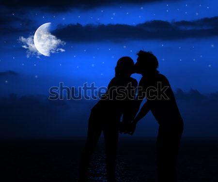 Romantic night kiss Stock photo © Anna_Om