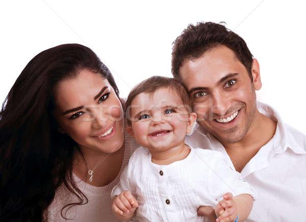 Derűs családi portré portré gyönyörű család izolált Stock fotó © Anna_Om