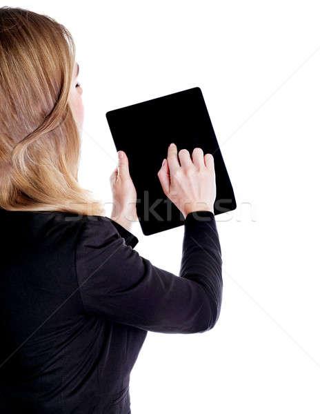 Touchpad hát oldal sikeres üzletasszony tabletta Stock fotó © Anna_Om