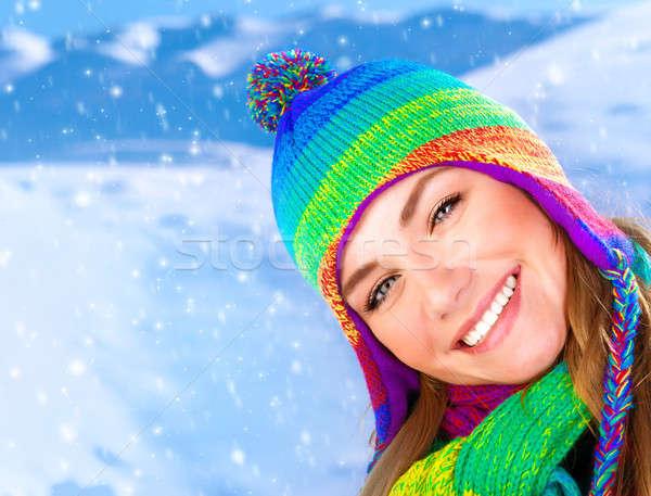 Stock photo: Happy girl in winter park