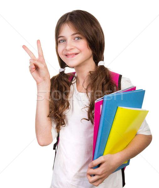 Cute studentessa ritratto bag libri mani Foto d'archivio © Anna_Om