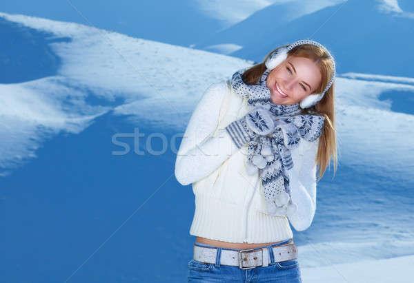 Feliz mulher montanhas retrato bastante alegre Foto stock © Anna_Om