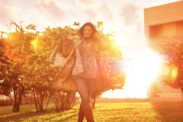 Happy pregnant woman with shopping bags Stock photo © Anna_Om
