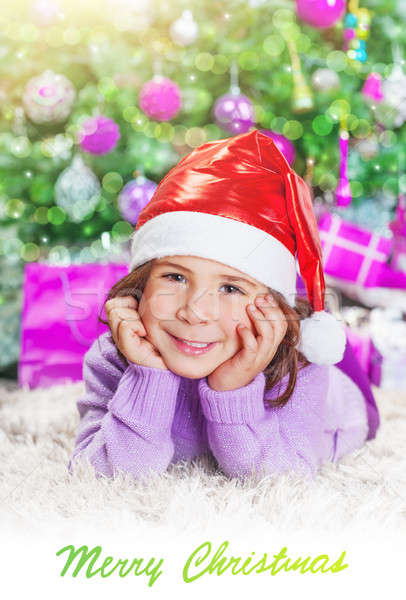 Little girl near Christmas tree Stock photo © Anna_Om