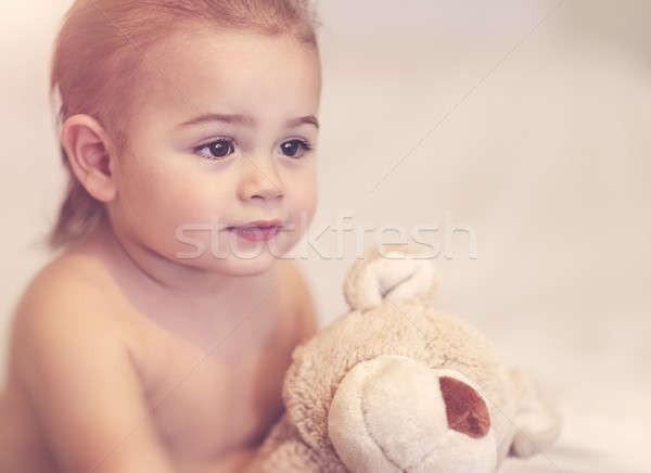 Little boy with soft toy Stock photo © Anna_Om