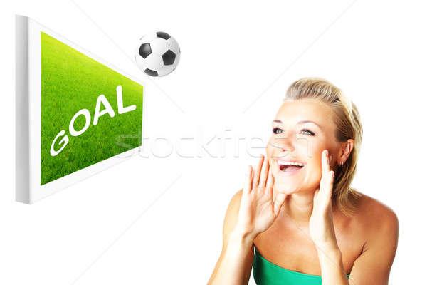 Opgewonden voetbal fan mooie gelukkig meisje kijken Stockfoto © Anna_Om