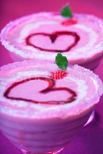 Smakelijk ijscoupe afbeelding Rood romantische hartvorm Stockfoto © Anna_Om
