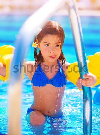 Little girl in poolside Stock photo © Anna_Om