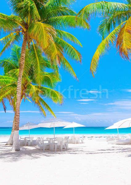 Lujo playa Resort Caribe mar México Foto stock © Anna_Om