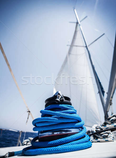 Closeup on yacht cord crank Stock photo © Anna_Om