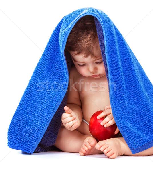 Foto stock: Cute · bebé · manzana · frutas · nino · azul