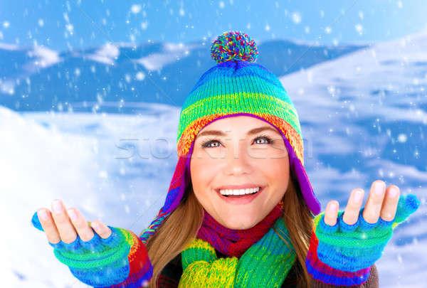 Vrolijk vrouwelijke sneeuwvlokken foto bergen Stockfoto © Anna_Om