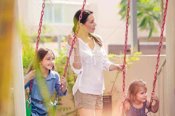 Matka dwa boisko piękna młodych mama Zdjęcia stock © Anna_Om