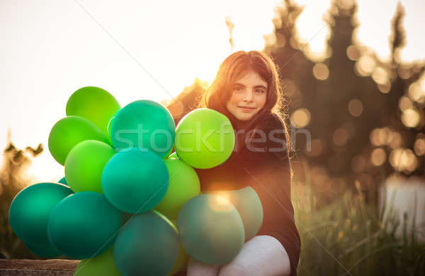 Pretty girl with air balloons Stock photo © Anna_Om