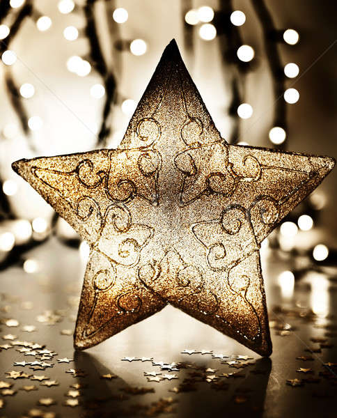 Star kerstboom ornament gouden decoratie Blur Stockfoto © Anna_Om