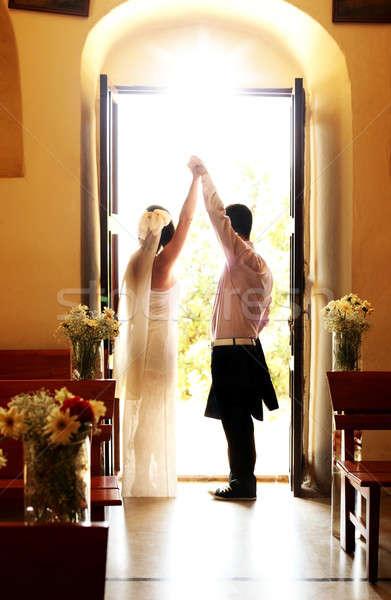 Esküvői ceremónia boldog fiatal pér kéz a kézben szeretet család Stock fotó © Anna_Om