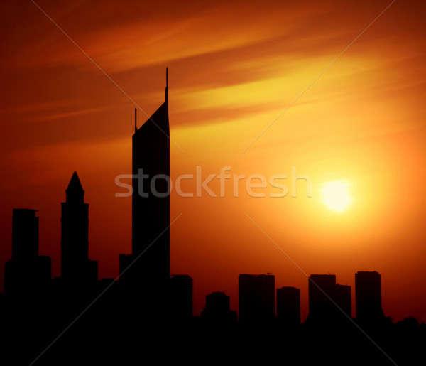 Dubai city at night Sheikh Zayed road at sunset Stock photo © Anna_Om