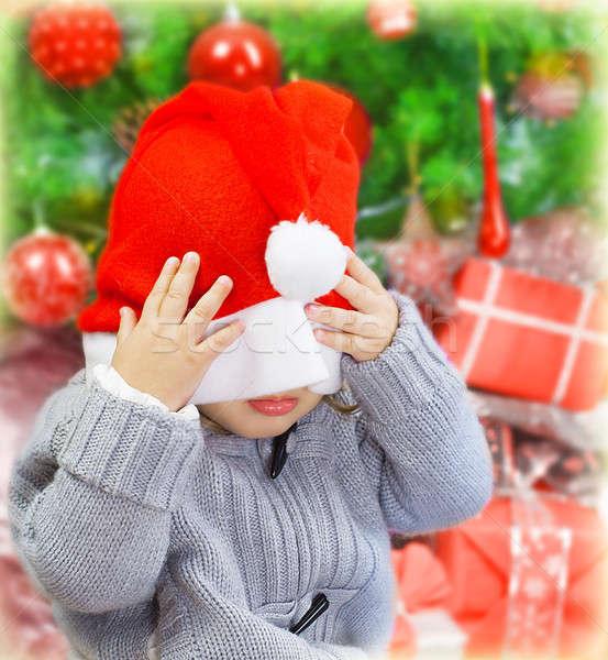 Naughty boy in Santa hat Stock photo © Anna_Om