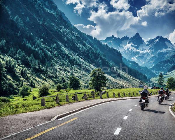 Motorcyclists on mountainous road Stock photo © Anna_Om