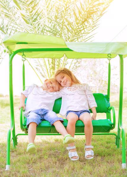 Happy kids on the swing Stock photo © Anna_Om
