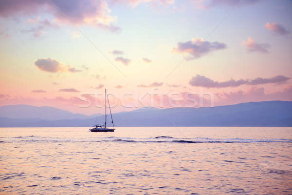 Luxury sailboat in sunset light Stock photo © Anna_Om