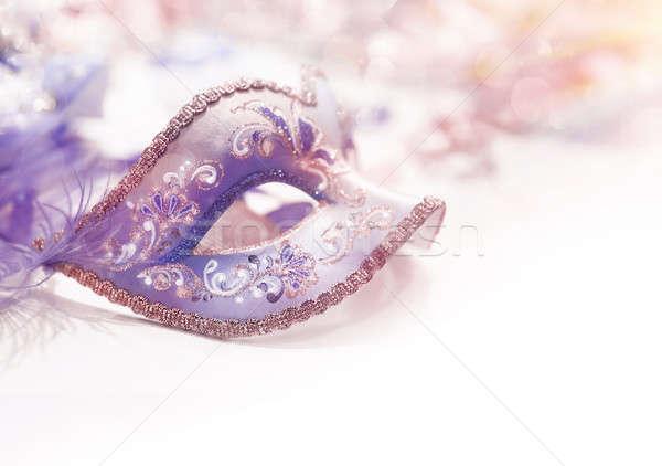 Belo carnaval cara máscara roxo luxo Foto stock © Anna_Om