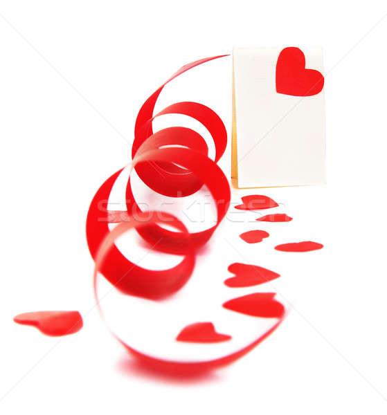 Boş kart kırmızı kalp şerit yalıtılmış beyaz Stok fotoğraf © Anna_Om