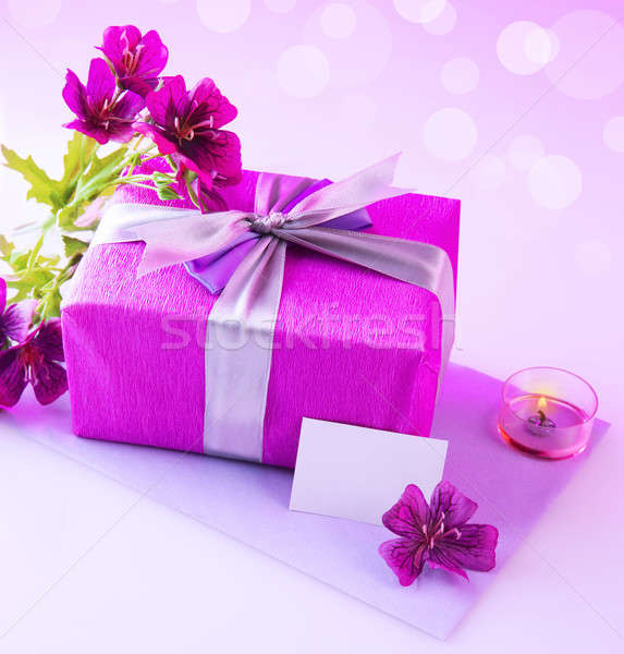 Gift box with pink flowers Stock photo © Anna_Om