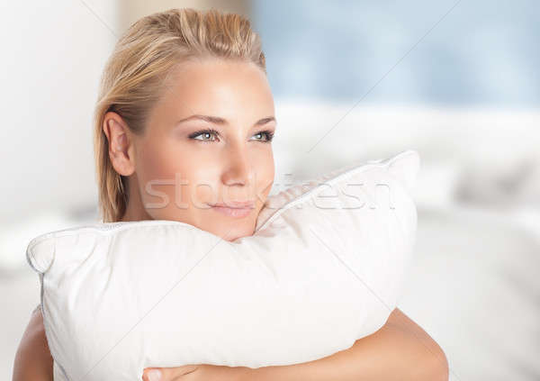 Girl enjoying soft pillow Stock photo © Anna_Om