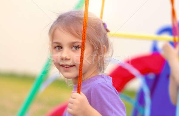 Little girl balançar retrato bonitinho recreio Foto stock © Anna_Om