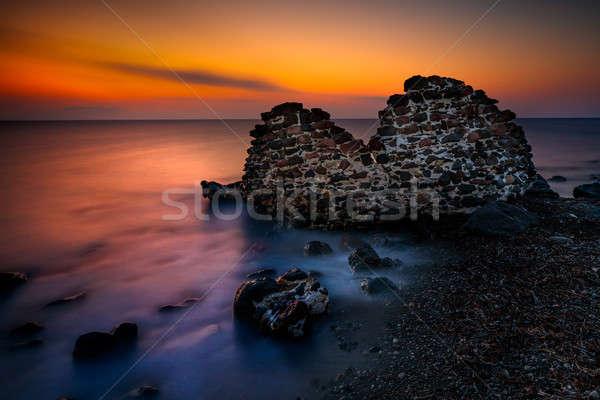 Mooie zonsondergang verbazingwekkend landschap middellandse zee zee Stockfoto © Anna_Om