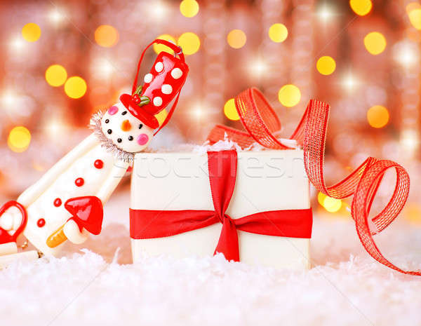 Holiday background with cute snowman Stock photo © Anna_Om