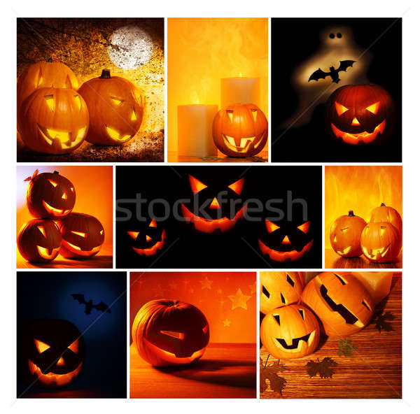 Halloween glowing pumpkins collage Stock photo © Anna_Om