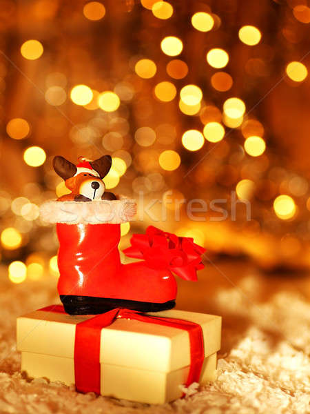 Holiday background with cute Santa boot decoration Stock photo © Anna_Om