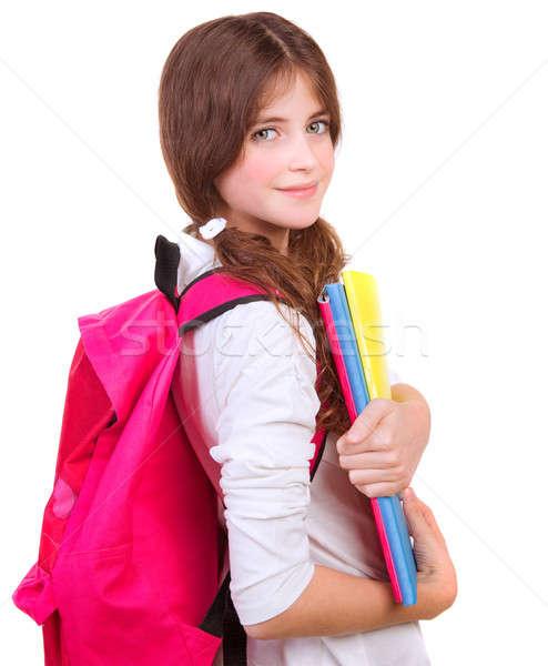 Sevimli öğrenci ders kitapları yandan görünüş esmer büyük Stok fotoğraf © Anna_Om