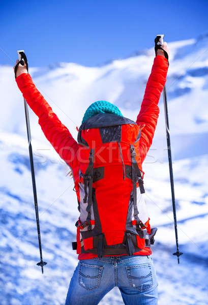 Gelukkig winnaar wintersport games Maakt een reservekopie kant Stockfoto © Anna_Om