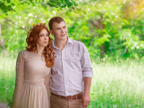 Romantikus pár park aranyos gyengéd sétál Stock fotó © Anna_Om