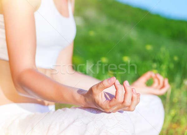 Jóga kint nő ül park lótusz Stock fotó © Anna_Om