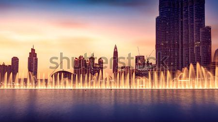 Burj khalifa işaret Dubai 17 çeşme Stok fotoğraf © Anna_Om