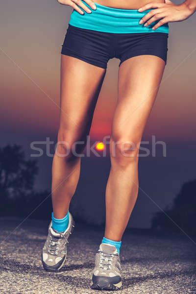 Stock fotó: Gyönyörű · lábak · közelkép · fotó · kint · edzés