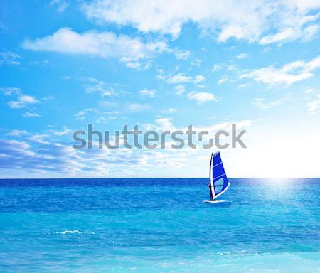 Panoramic beach landscape with windsurfer playing Stock photo © Anna_Om
