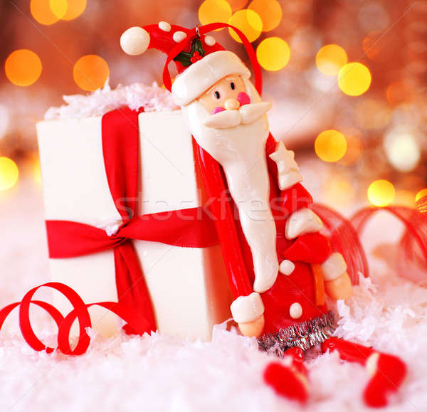 Stock photo: Holiday Christmas background with cute Santa decoration