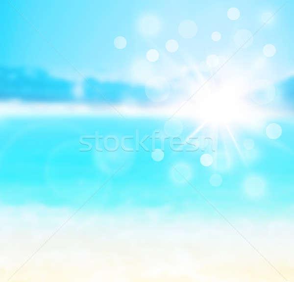 Azul Blur naturales resumen playa de arena fondo Foto stock © Anna_Om